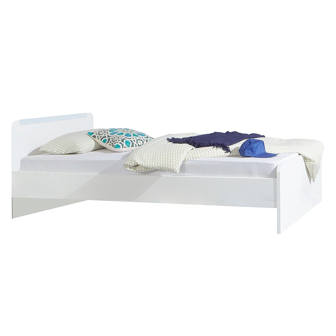 Home 24 - Lit simple bibo - blanc alpin / bleu glacé - sans tiroir, wimex