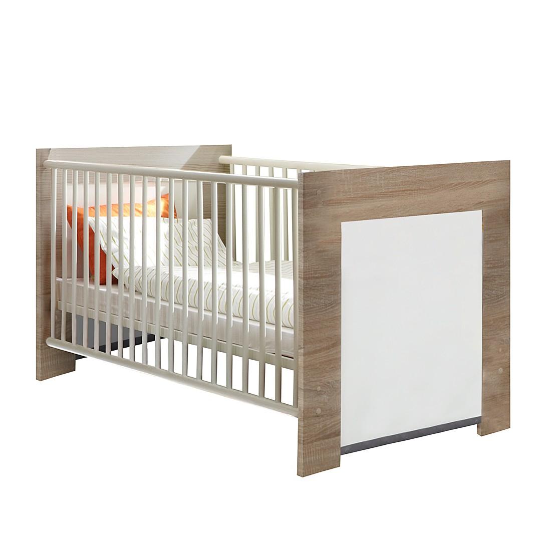 Lit bébé Emily - Chêne - Blanc, Wimex