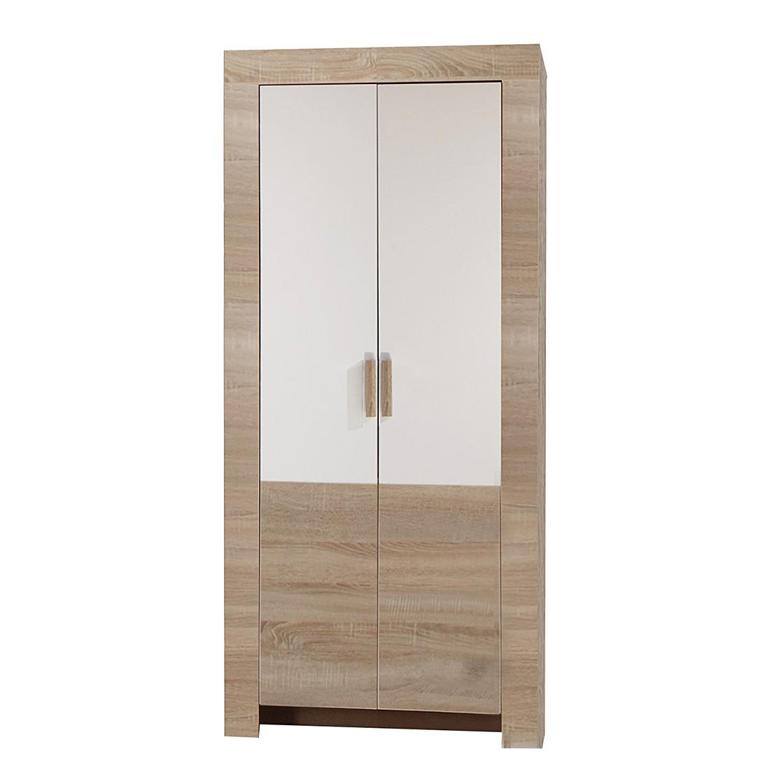Kledingkast Emma - grof gezaagde eikenhouten look/wit - 2-deurs, Wimex