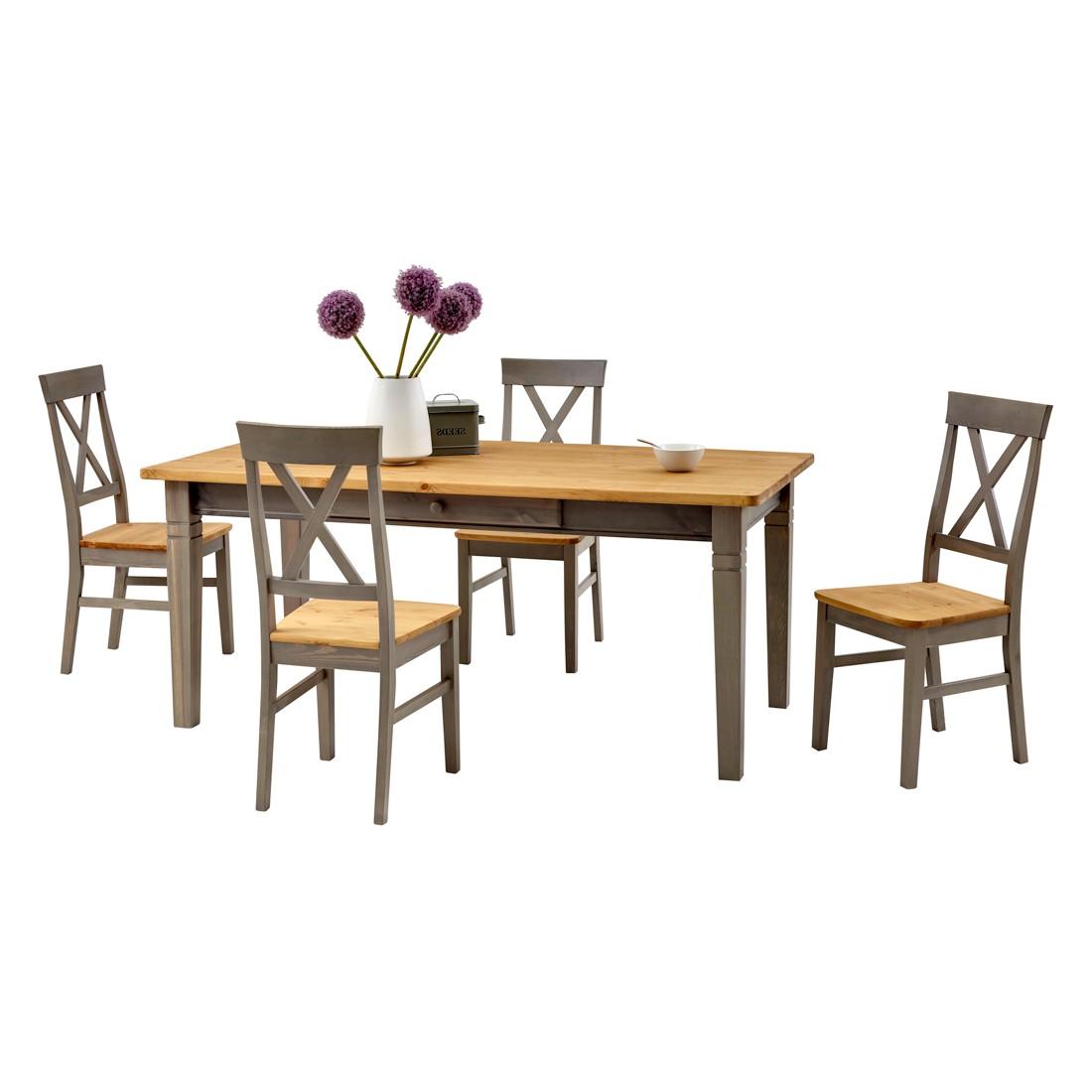 Home 24 - Ensemble de salle à manger bergen (5 éléments) - pin massif - gris / couleur bois lessivé, landhaus classic