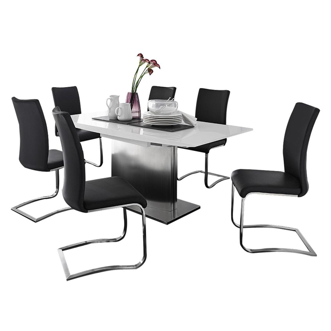 Home 24 - Ensemble de salle à manger arabella (7 éléments) - verre blanc - cuir synthétique noir, loftscape