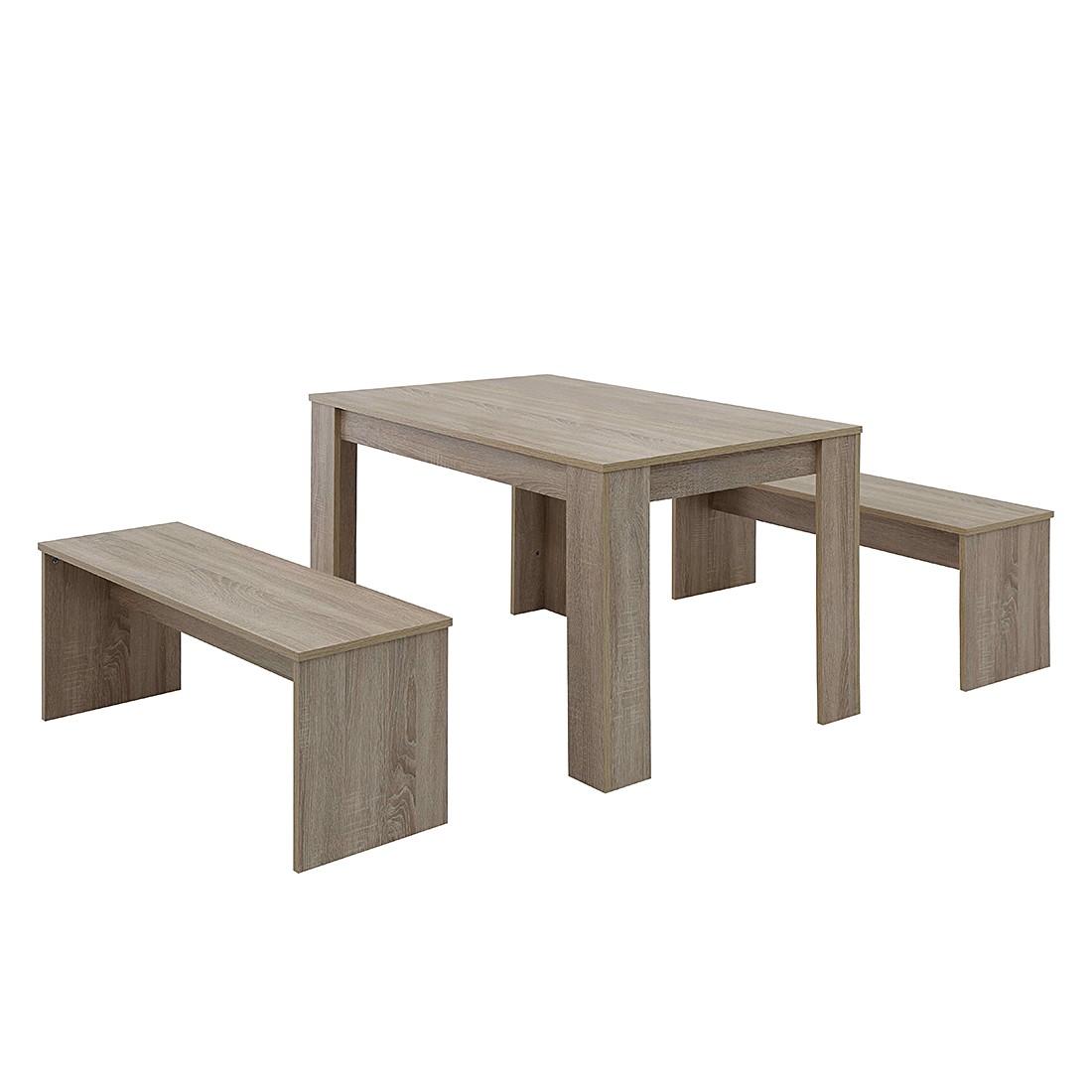 Home 24 - Ensemble de salle à manger broby (3 éléments) - imitation chêne sonoma - 120 x 80 cm, modoform