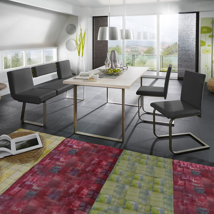 Eetkamerset Chacigo (4-delige set) - Zwart/roestvrij staal/wit, loftscape