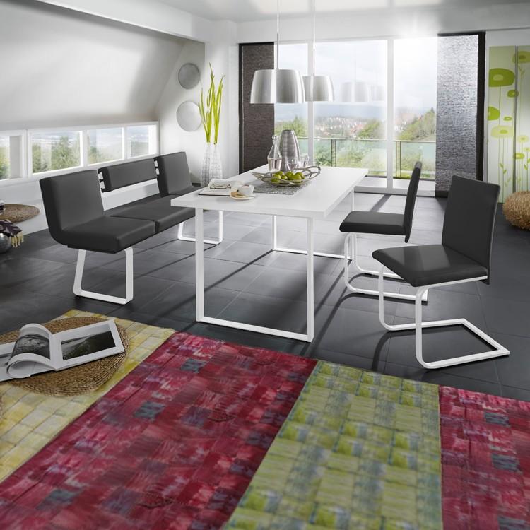 Home 24 - Ensemble table et chaises chacigo (4 éléments) - noir / blanc, loftscape