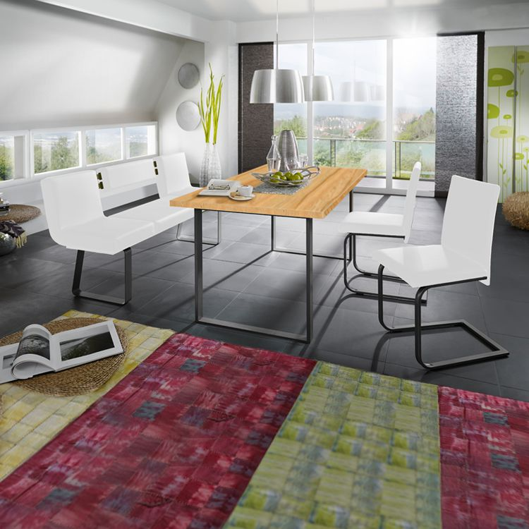 Eetkamerset Chacigo (4-delige set) - Wit/zwart/kernbeukenhouten look, loftscape