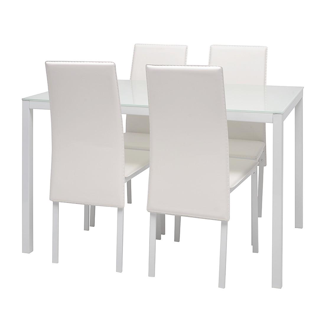 Set Tavolo Da Pranzo Dine (5 Pezzi) Bianco Set Per Sala Da Pranzo  #6D675E 1100 1100 Lampade Sala Da Pranzo