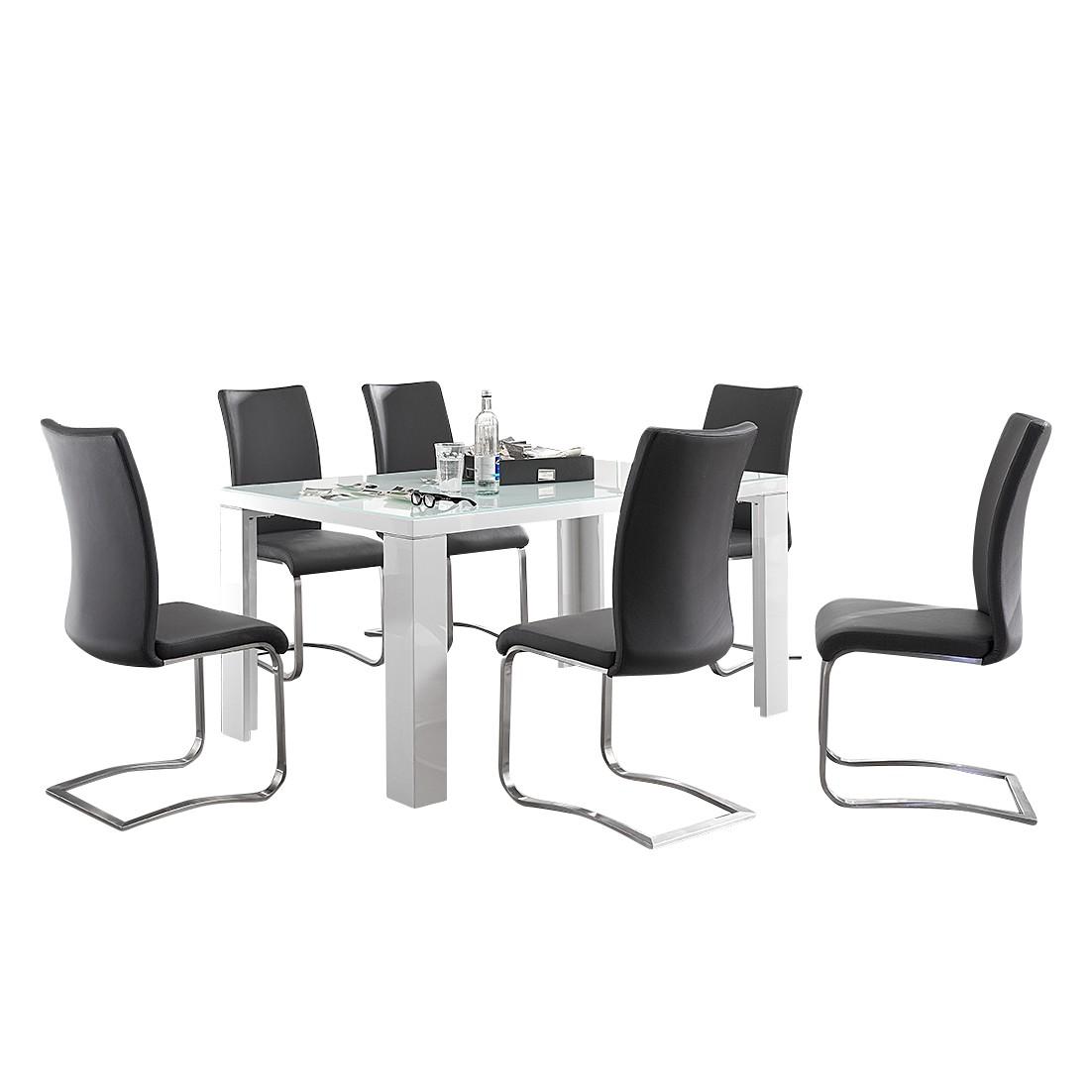 Home 24 - Ensemble de salle à manger esther (7 éléments) - blanc brillant - cuir synthétique gris, bellinzona