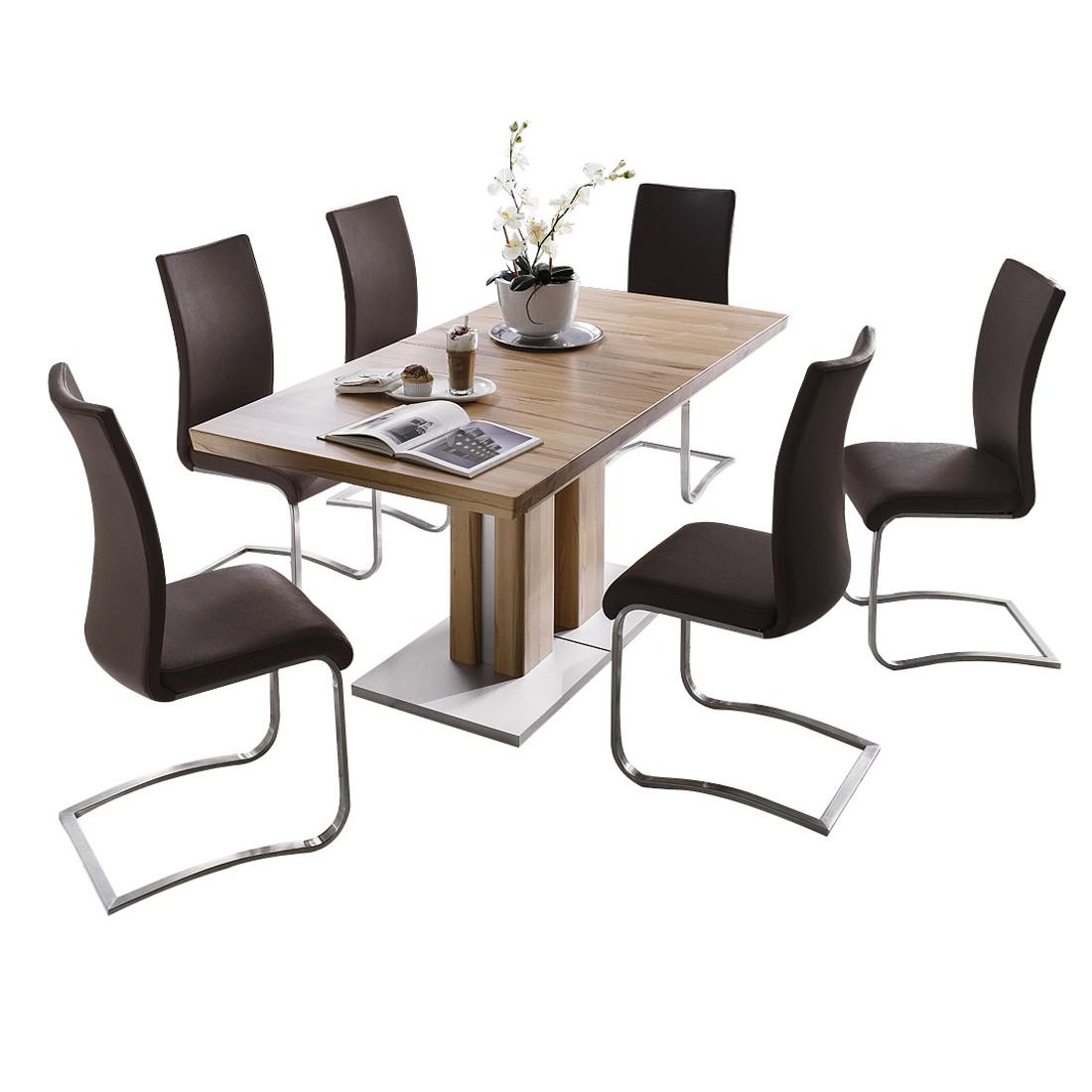 Home 24 - Ensemble de salle à manger estefanie (7 éléments) - hêtre massif - cuir synthétique marron, loftscape