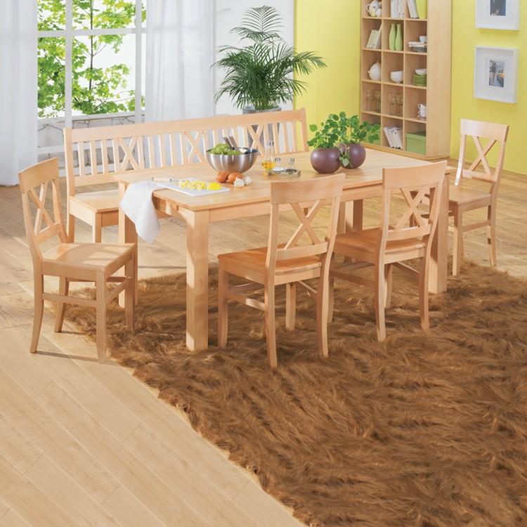 Home 24 - Ensemble table et chaises konstanze (6 éléments) - hêtre massif - beige, ars natura