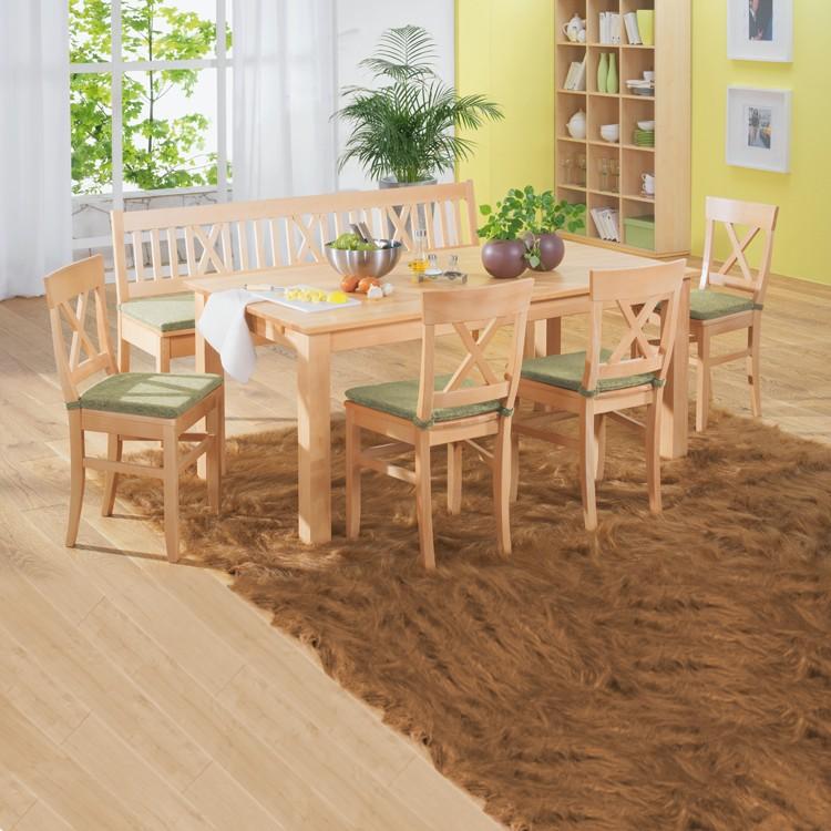 Home 24 - Ensemble table et chaises konstanze (6 éléments) - hêtre massif - vert, ars natura