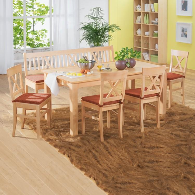 Home 24 - Ensemble table et chaises konstanze (6 éléments) - hêtre massif - rouge, ars natura