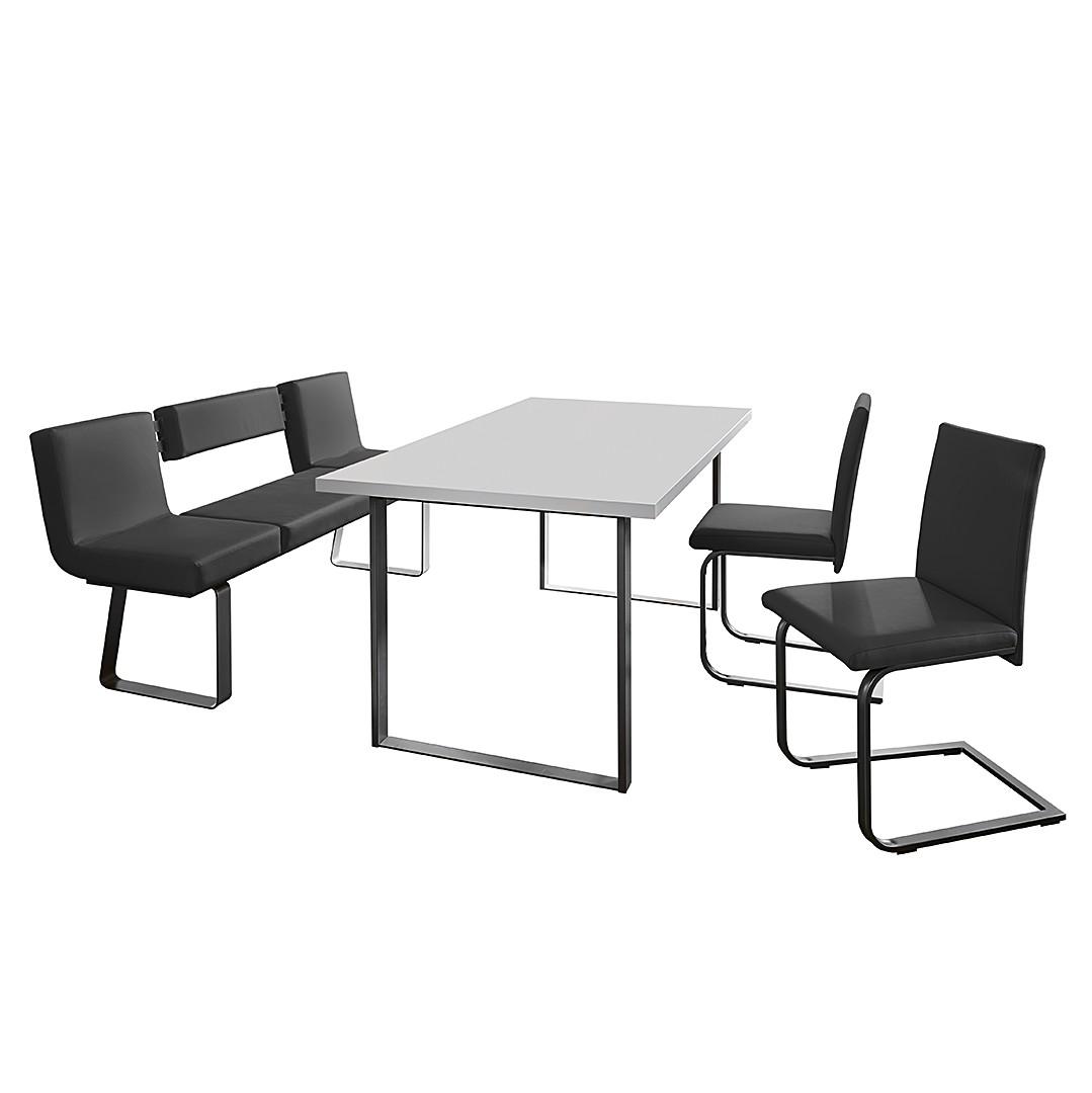 Home 24 - Ensemble table et chaises chacigo (4 éléments) - noir / acier inoxydable / blanc, loftscape