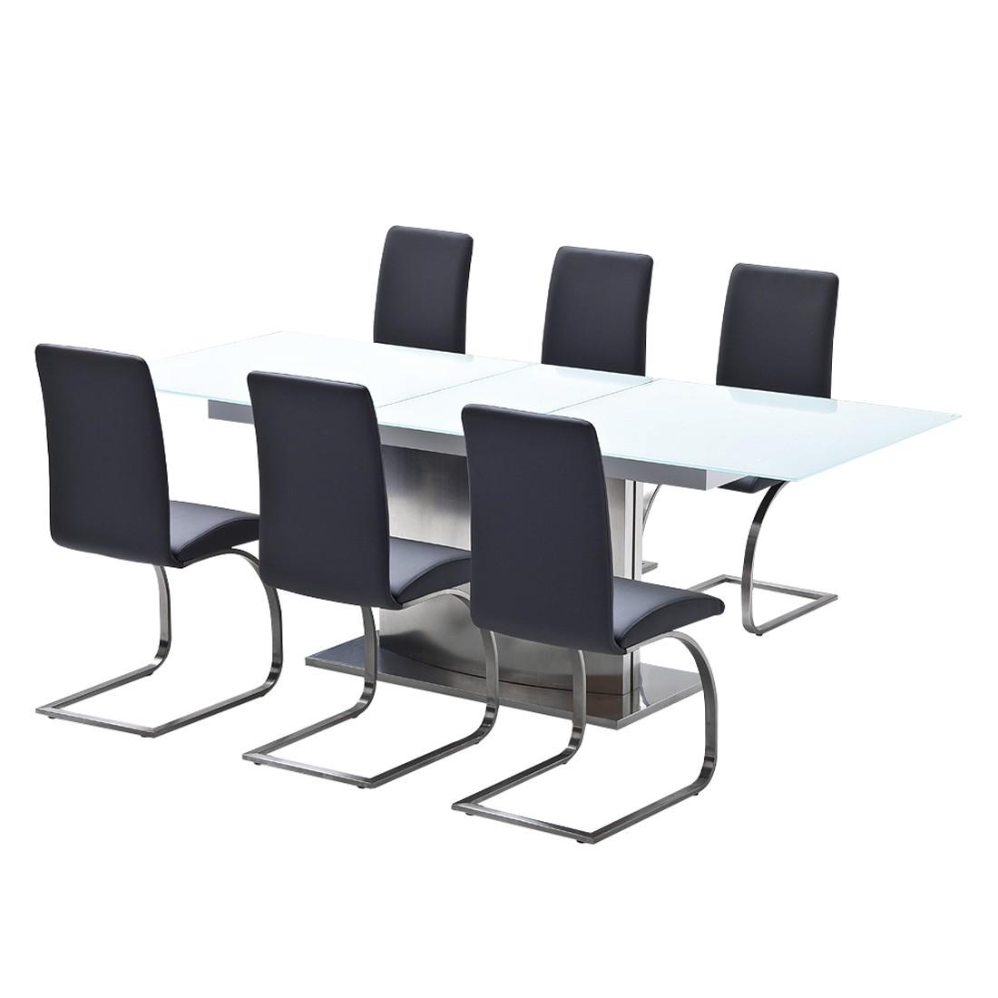 Home 24 - Ensemble de salle à manger memory (7 éléments) - verre / cuir synthétique - blanc / gris, bellinzona