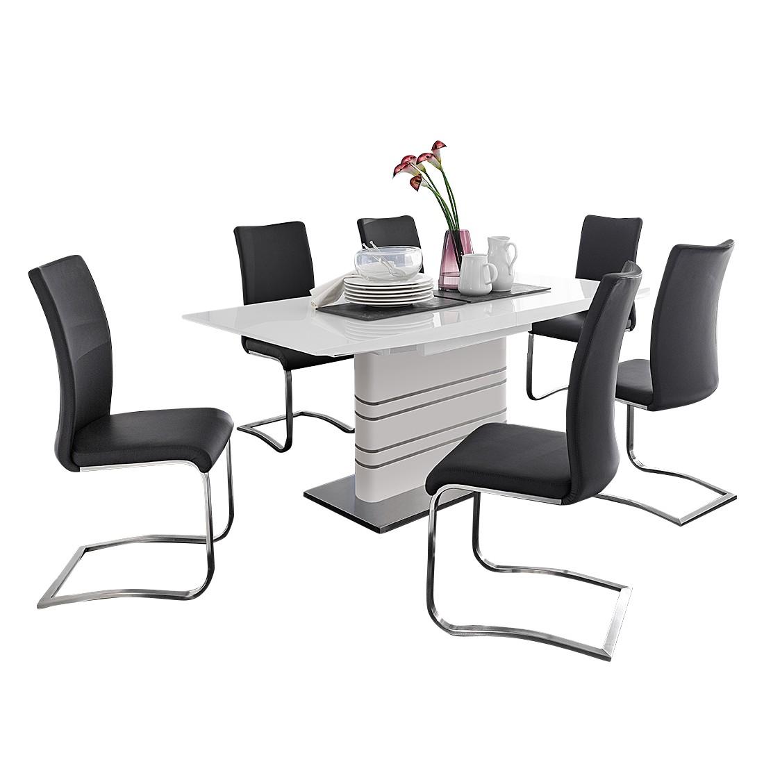 Home 24 - Ensemble de salle à manger french (7 éléments) - blanc brillant - cuir synthétique noir, bellinzona