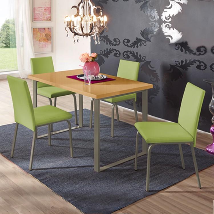 Eetkamerset Naveda (4-delige set) - Groen/roestvrij staal/kernbeukenhouten look, roomscape