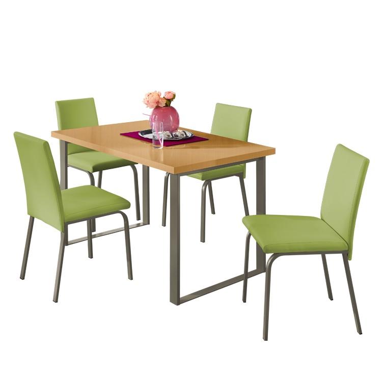 Home 24 - Ensemble table et chaises naveda (4 éléments) - vert / acier inoxydable / imitation duramen de hêtre, roomscape