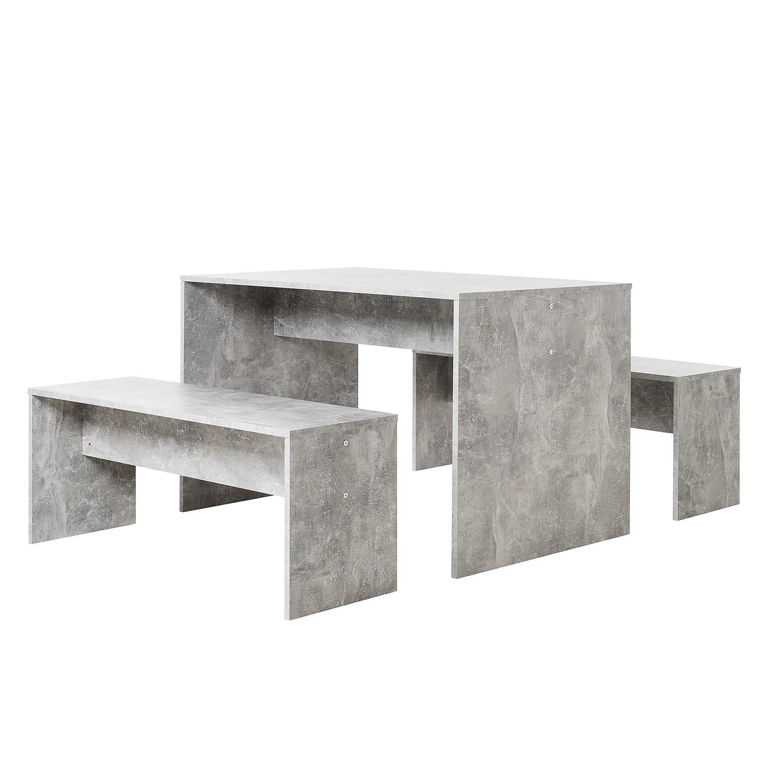 Eetgroep Panga (3-delig) - Concrete look, mooved