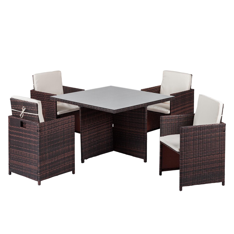 Salon de jardin Paradise Lounge I (5 éléments) - Verre / Polyrotin - Marron, Fredriks