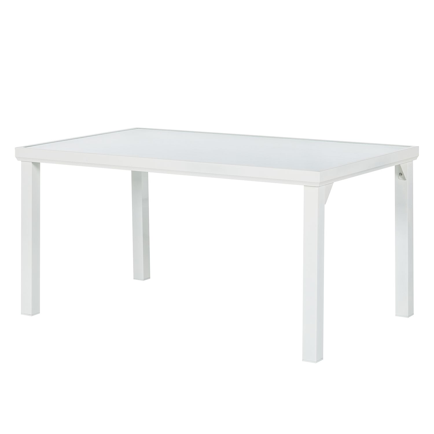 Table de jardin Leno - Aluminium / Verre - Blanc, mooved