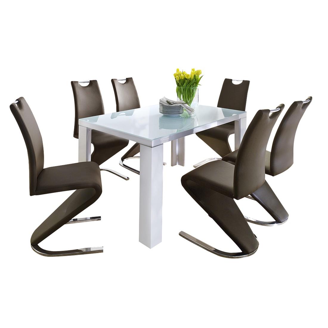 Home 24 - Ensemble de salle à manger tizio (7 éléments) - verre / blanc brillant - cuir synthétique / marron, bellinzona