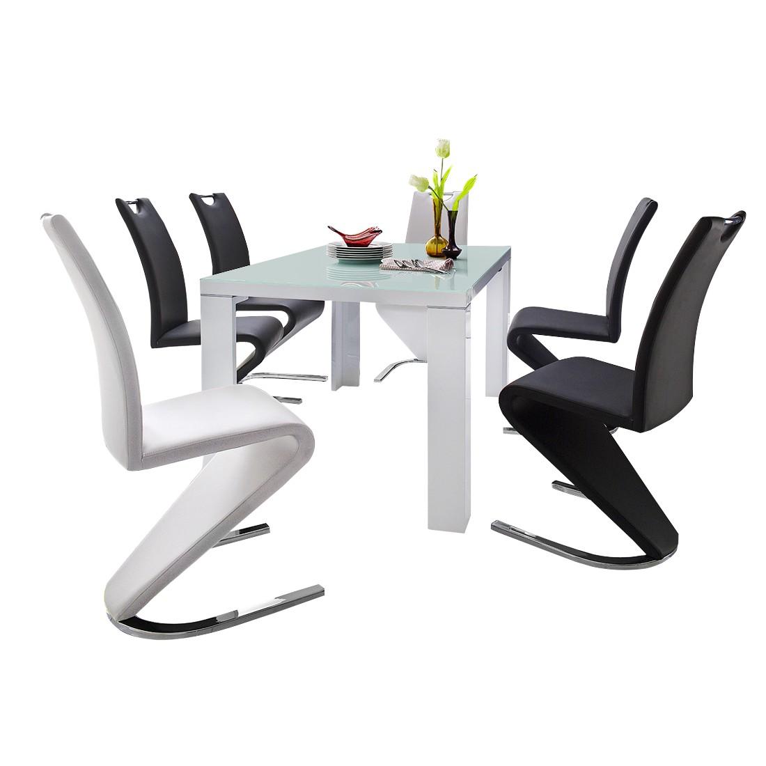 Home 24 - Ensemble de salle à manger tizio (7 éléments) - verre / blanc brillant - cuir synthétique / noir - blanc, fredriks