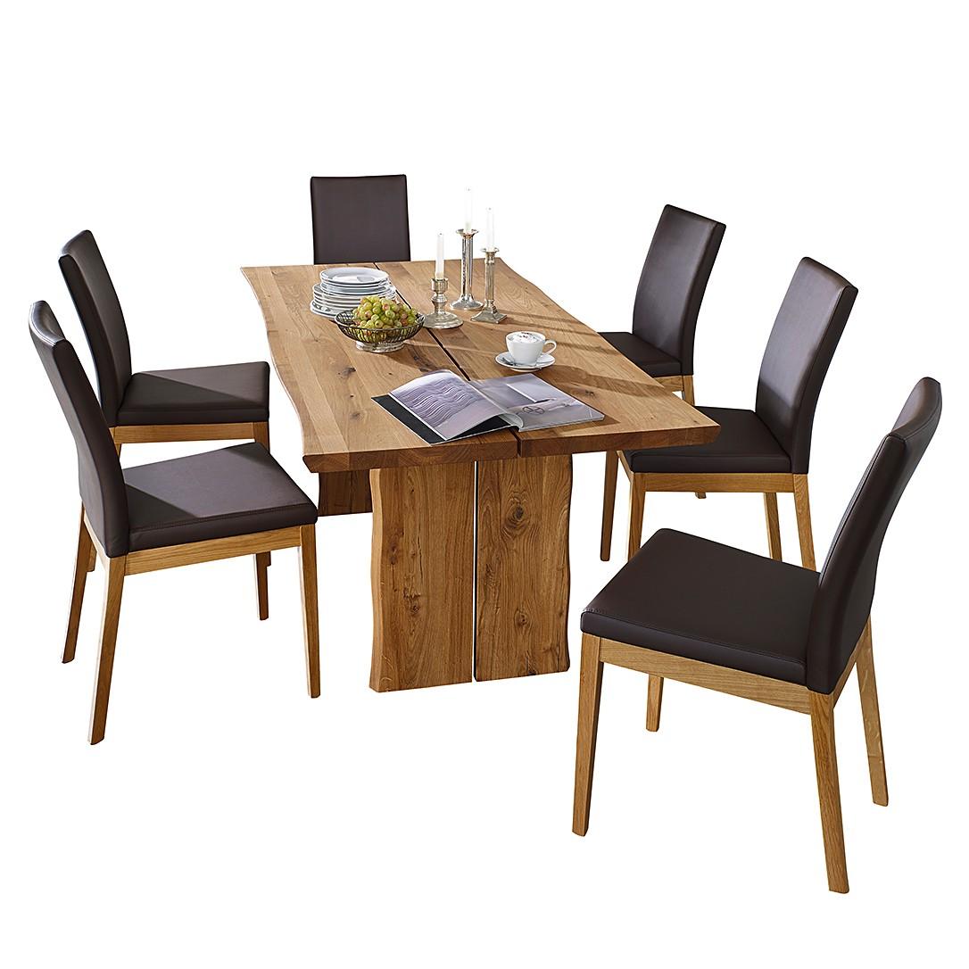 Home 24 - Ensemble table et chaises vallenar iii - chêne sauvage massif - marron foncé, ars natura