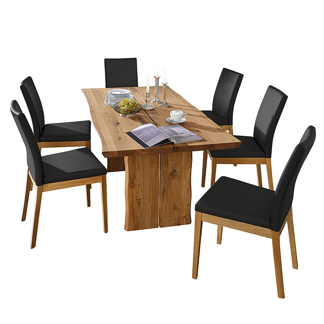 Home 24 - Ensemble table et chaises vallenar iii - chêne sauvage massif - noir, ars natura
