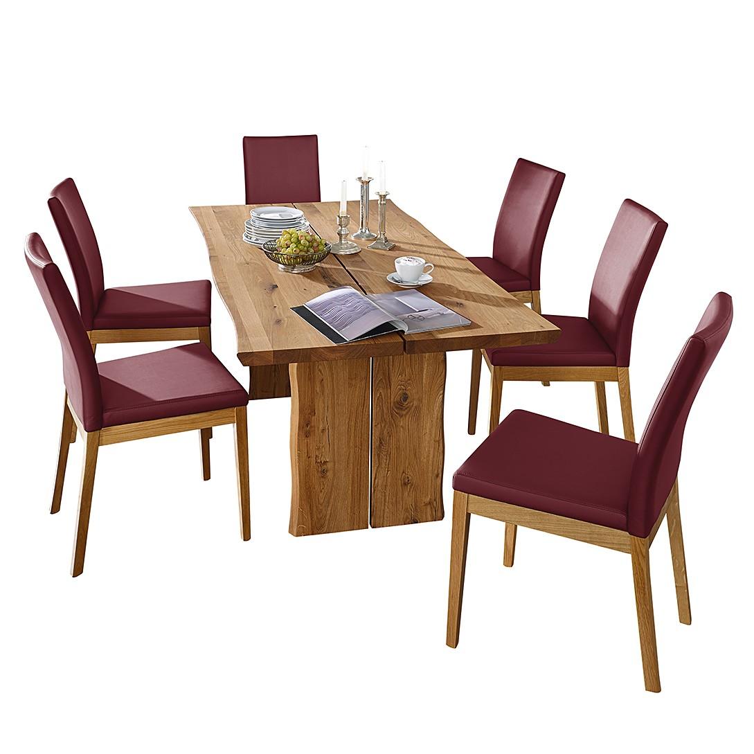 Home 24 - Ensemble table et chaises vallenar iii - chêne sauvage massif - rouge bordeaux, ars natura