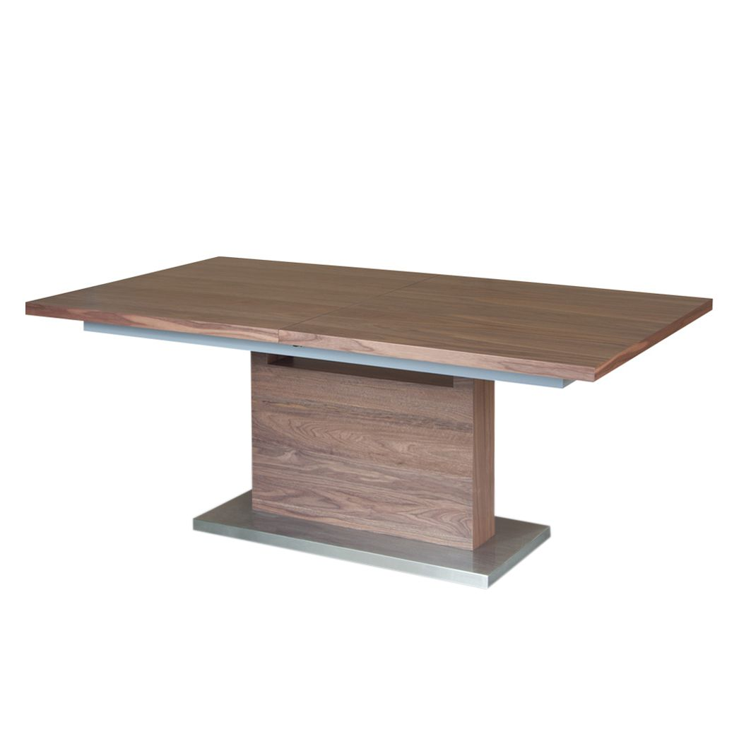 Table de salle à manger Adam (extensible) - Bois Noyer / Argenté, Fredriks