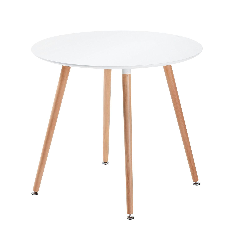 Table à manger Orotelli II - Hêtre partiellement massif - Blanc / Hêtre, Morteens