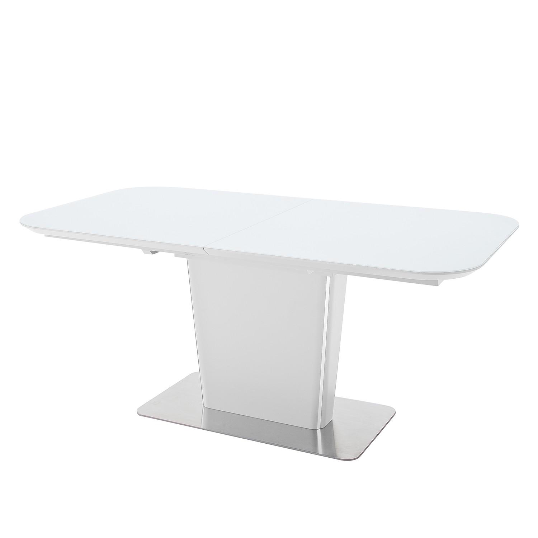 Eettafel Apanas (uitschuifbaar) - glas/roestvrij staal - mat wit/roestvrij staal - 140x85cm, mooved