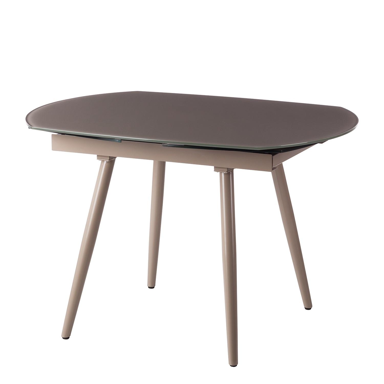 Table à manger Askis (avec rallonge) - Verre / Métal - Taupe, Fredriks