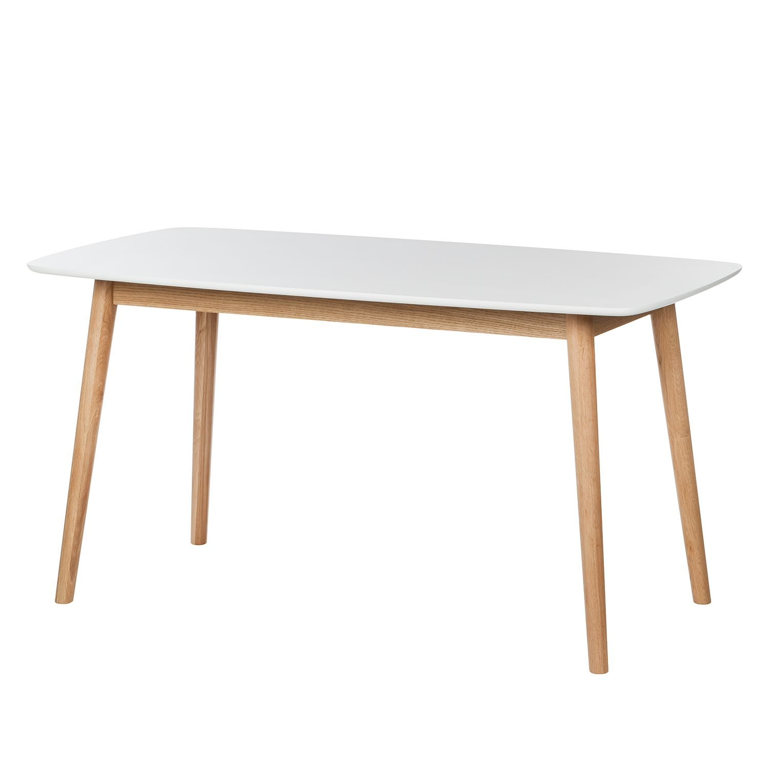 Table à manger Bjelland - Chêne partiellement massif - Blanc - 150 x 80cm, Morteens