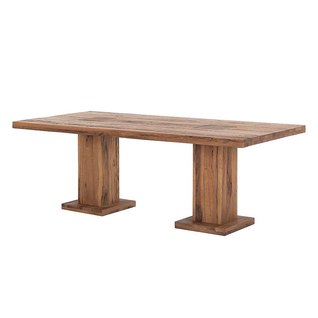 Home 24 - Table colonne chamber (2 colonnes) - différentes tailles disponibles chêne massif, bassano verni - 220 x 100 cm, ars natura