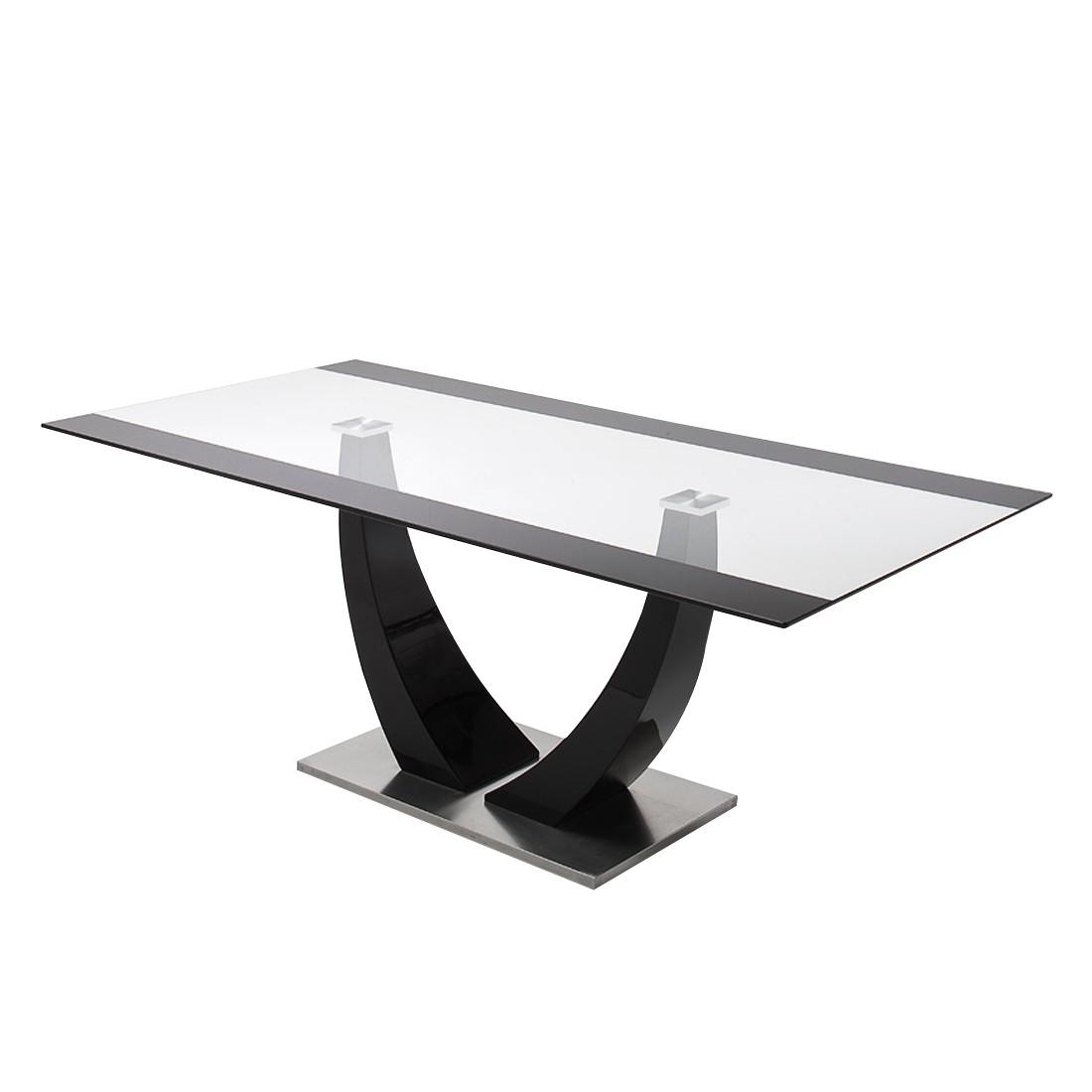 Table à manger Aleksa - Verre / Noir brillant, loftscape