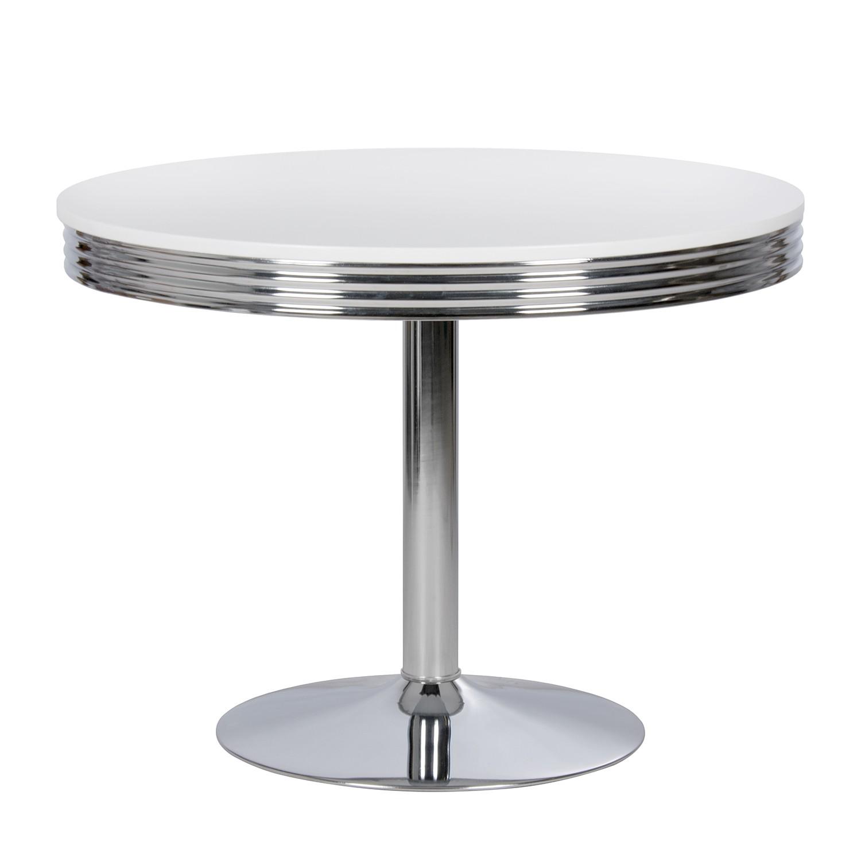 Table à manger Elvis II - Blanc / Chrome, mooved
