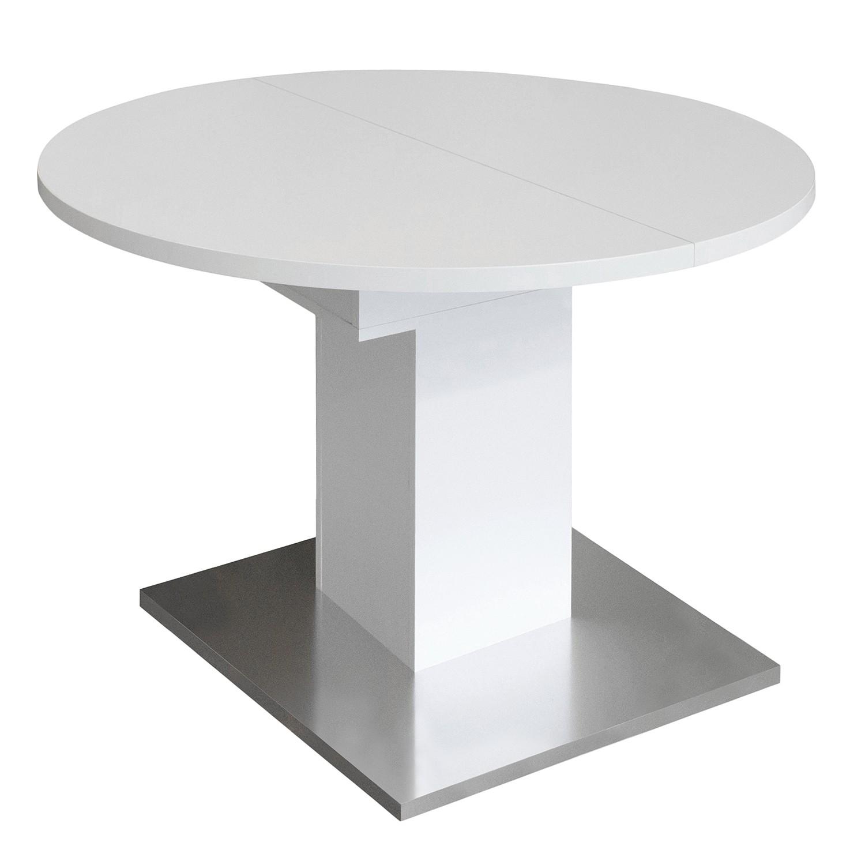 Table à manger Hoton (avec rallonge) - Blanc mat - Ø 104 cm, mooved
