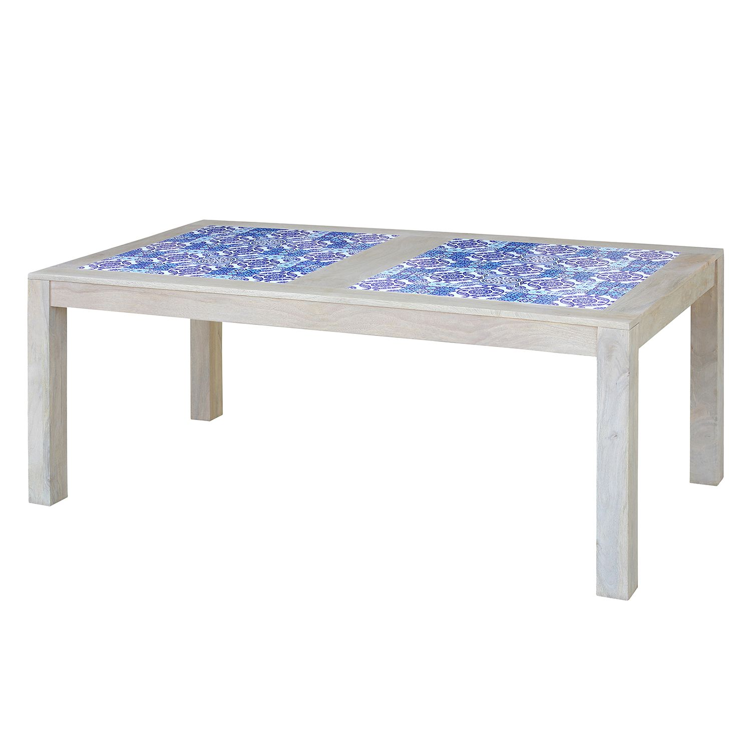 Table à manger Ibiza - Manguier massif / Céramique - Manguier / Bleu - 160 x 95 cm, ars manufacti