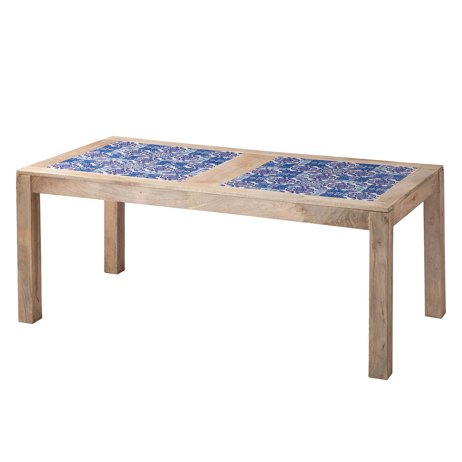 Table à manger Ibiza - Manguier massif / Céramique - Manguier / Bleu - 190 x 95 cm, ars manufacti