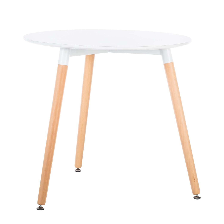 Image of Tavolo da pranzo Jade - legno lamellare di faggio - bianco / faggio, Morteens