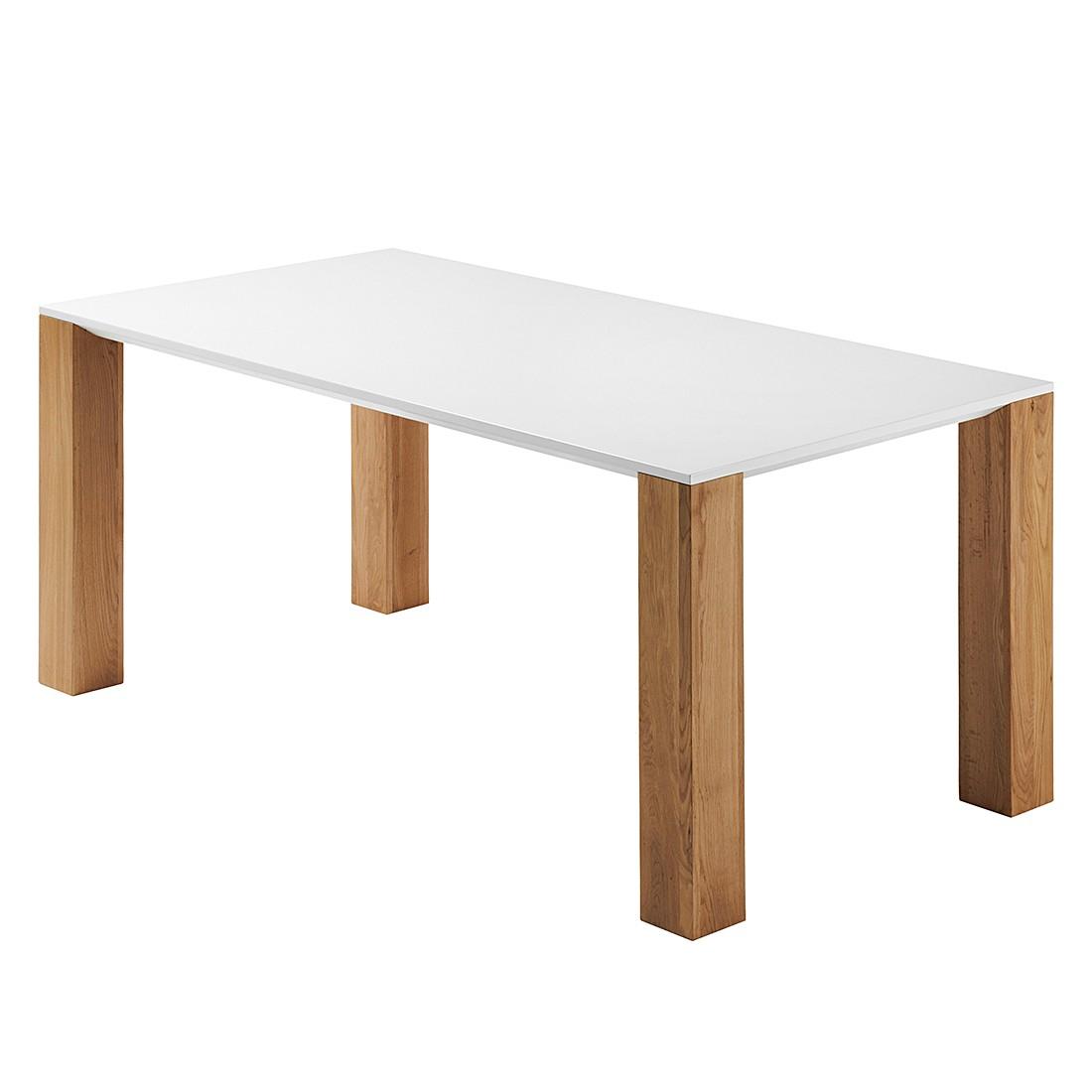 Table à manger Janoah - Chêne partiellement massif Blanc / Naturel, loftscape