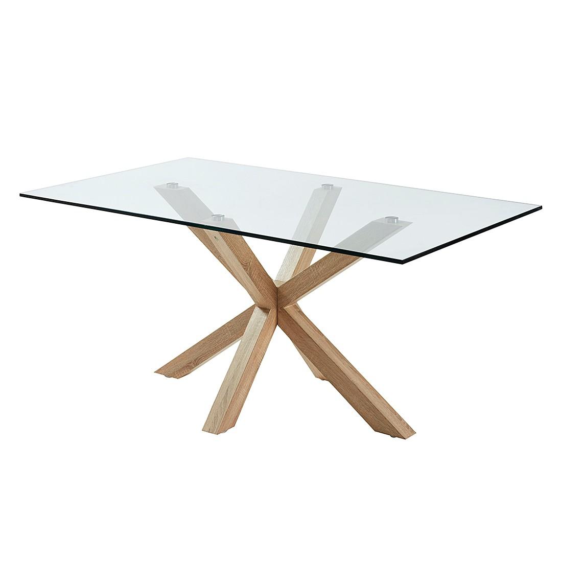 Table à manger Karmi - Verre clair / Chêne, Morteens