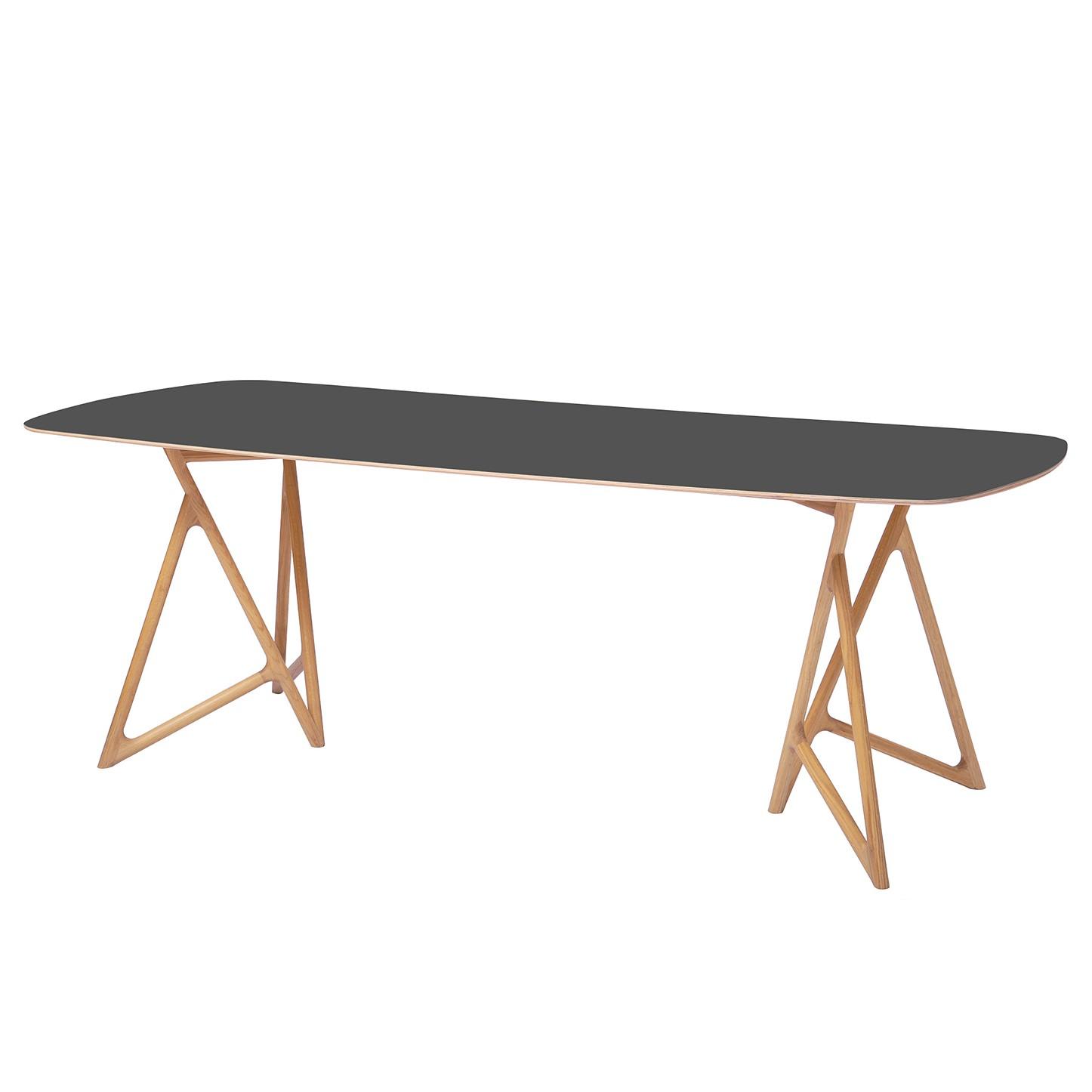 Table à manger Koza - Chêne massif / Linoléum - Anthracite / Chêne - 160 x 90 cm, Studio Copenhagen