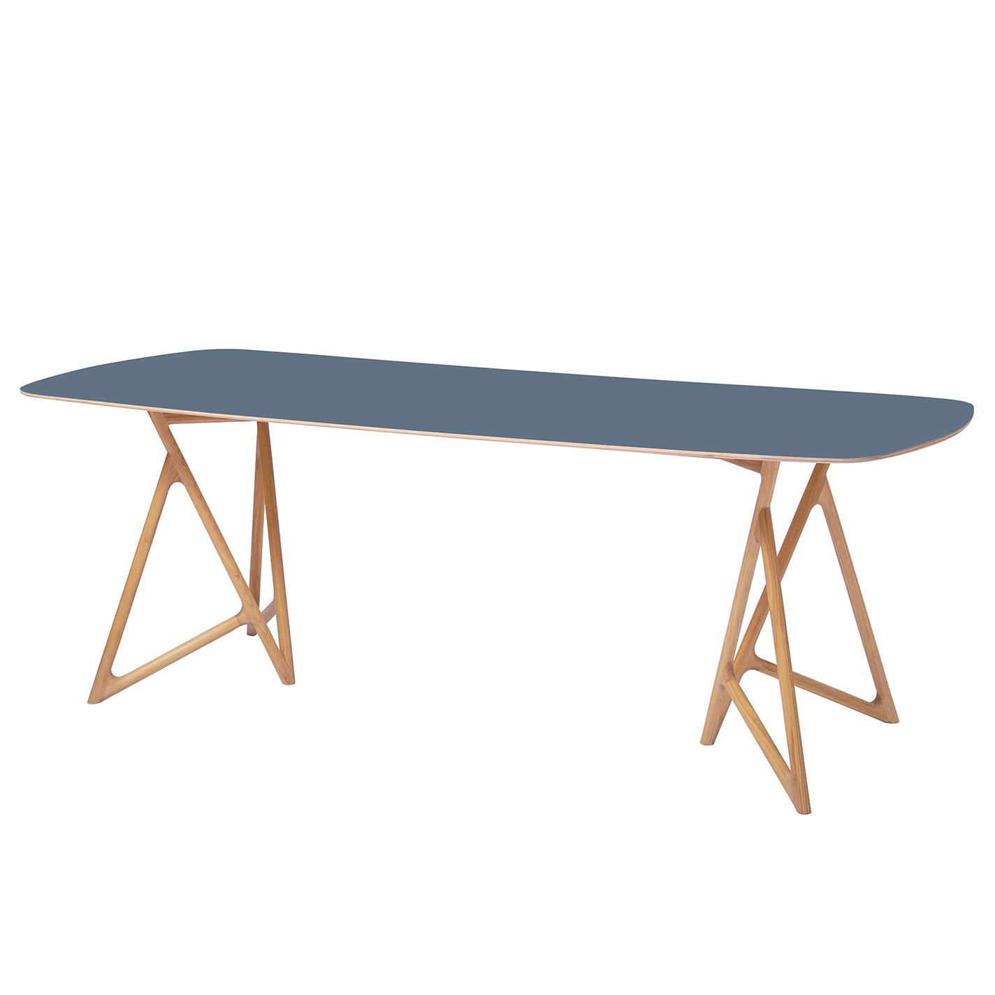 Home 24 - Table à manger koza - chêne massif / linoléum - pétrole / chêne - 180 x 90 cm, studio copenhagen