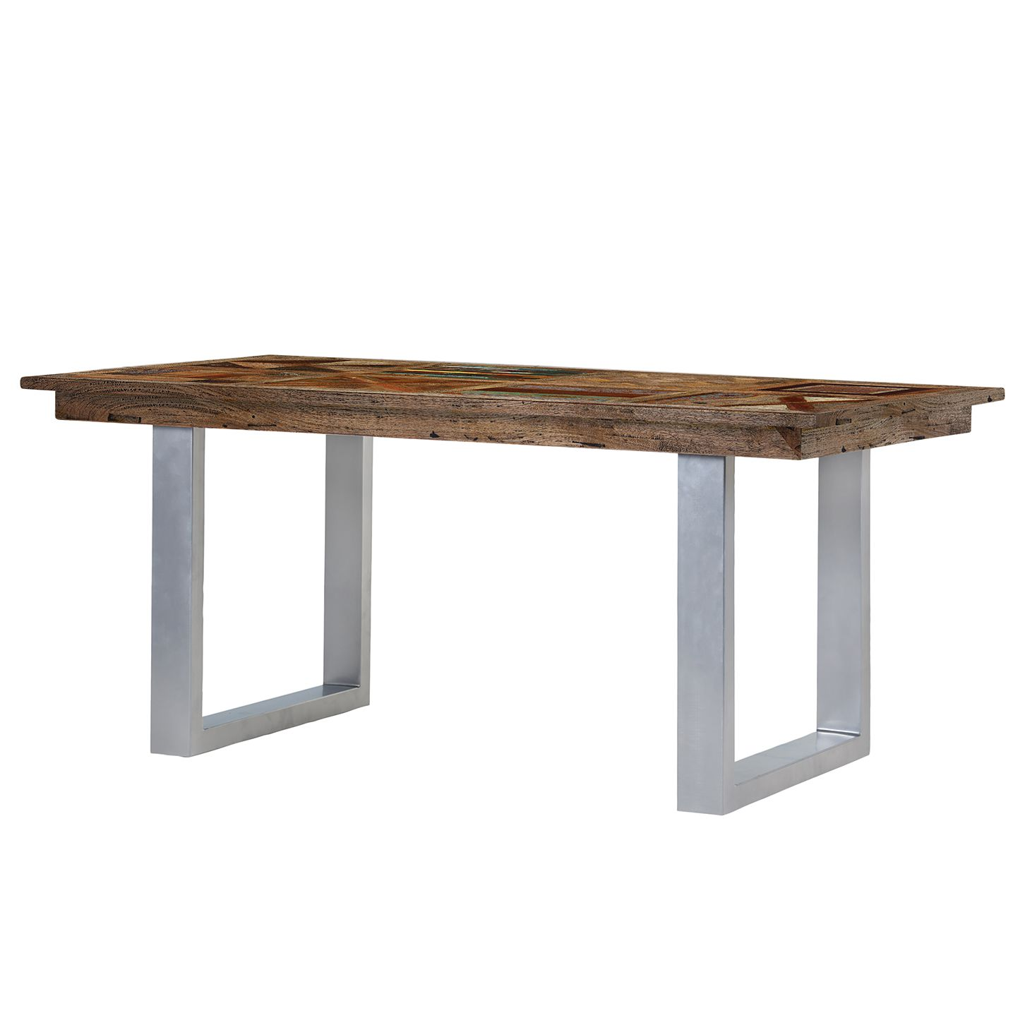 Table à manger Camibar IV - Manguier massif / Métal - Manguier / Argenté, Ars Natura
