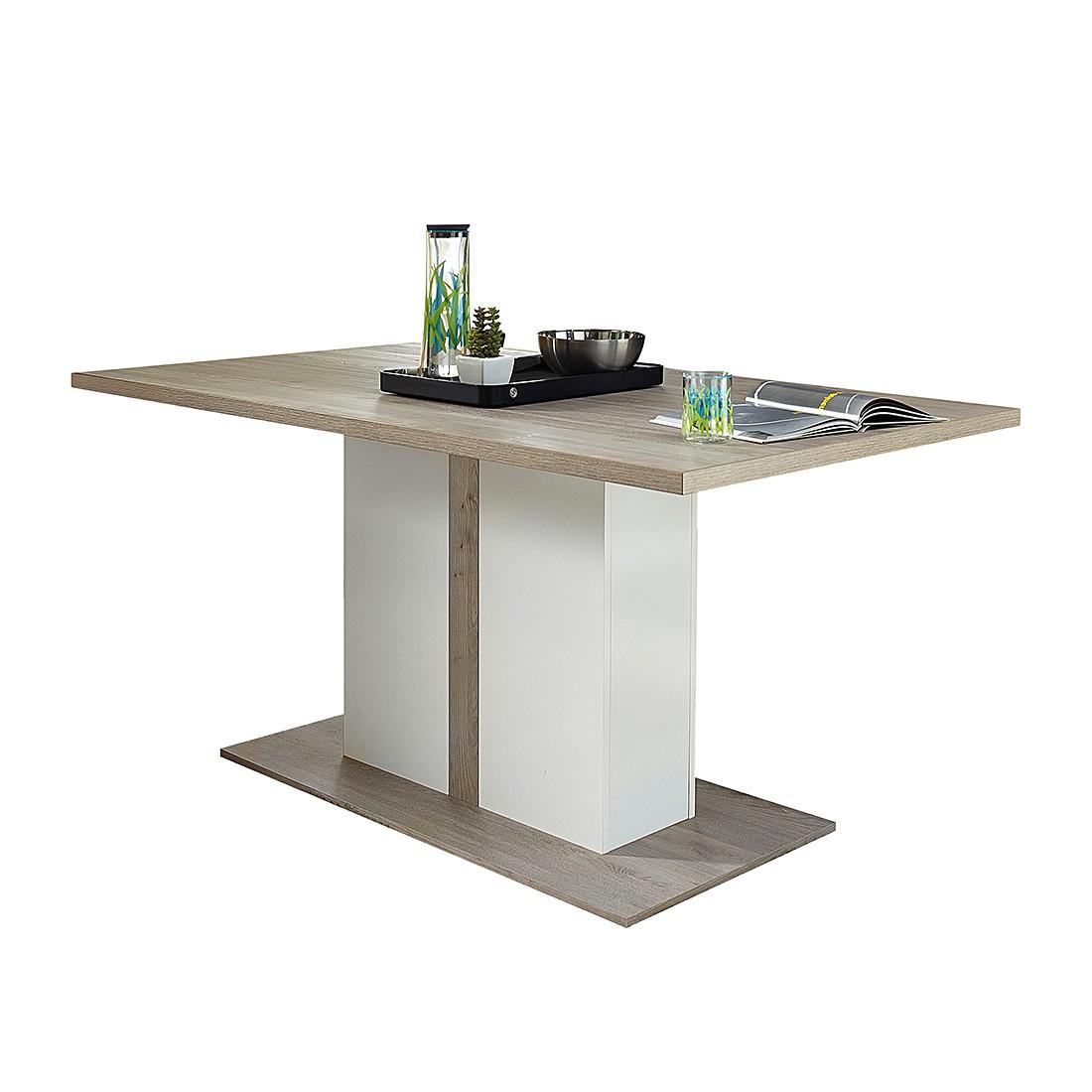 Table à manger Lambda - Imitation chêne argenté / Blanc, loftscape