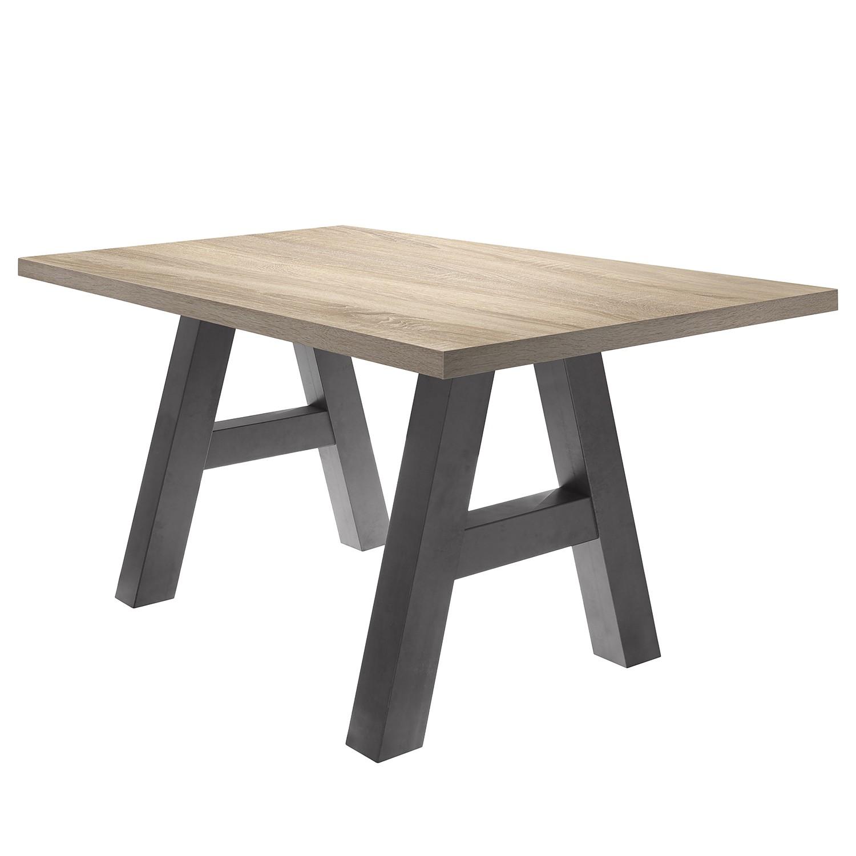 Table à manger Leeton l - Imitation chêne brut de sciage - 160 x 90 cm, mooved