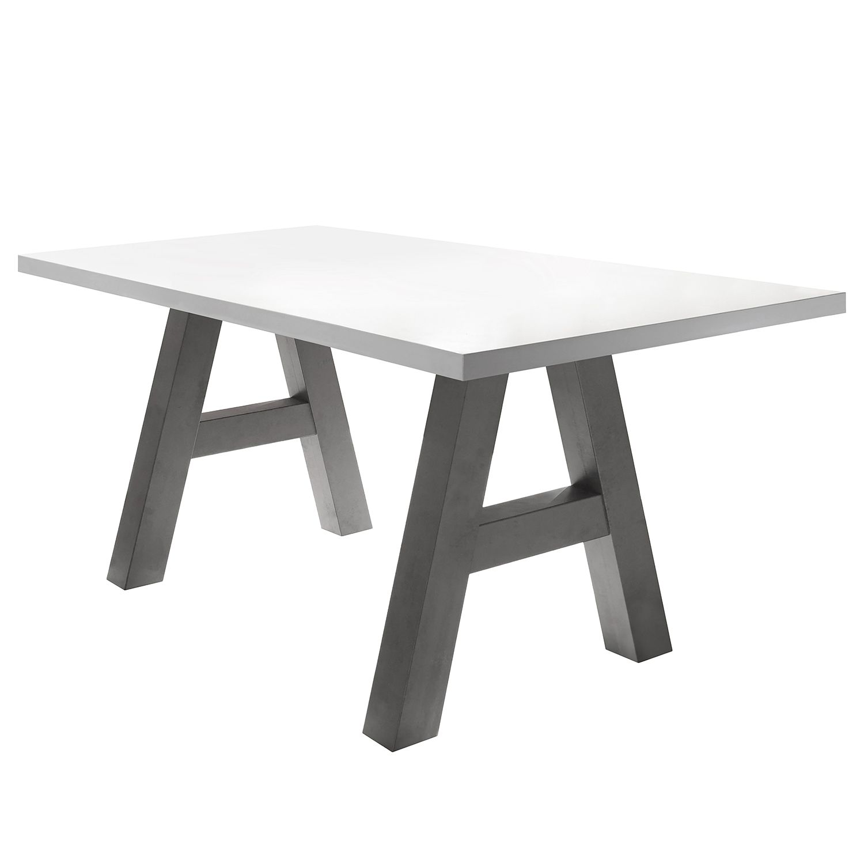 Table à manger Leeton l - Blanc mat - 160 x 90 cm, mooved