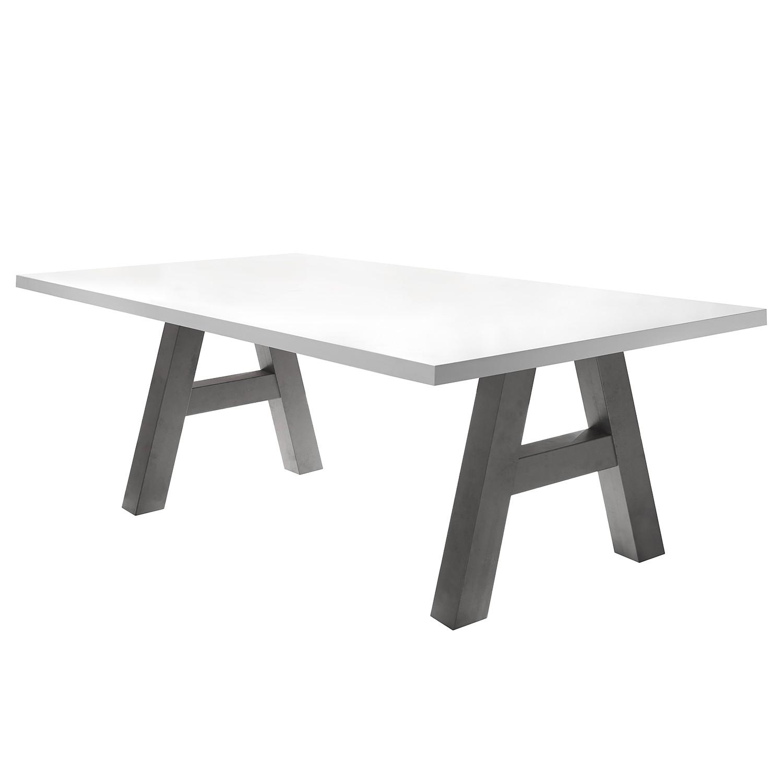 Table à manger Leeton l - Blanc mat - 200 x 100 cm, mooved