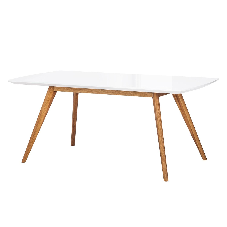 Table à manger Lindström - Blanc brillant / Chêne massif, Morteens